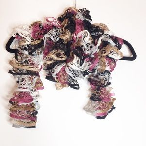 Hand crocheted lacey scarf black, white, rose, tan